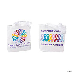 Mini Cancer Awareness Tote Bags