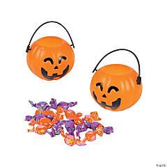 Mini Candy-Filled Jack-O'-Lantern Buckets