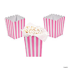 Mini Candy Pink Striped Popcorn Boxes