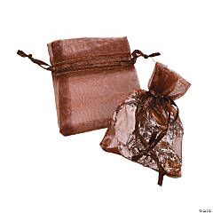 Mini Chocolate Brown Organza Drawstring Treat Bags
