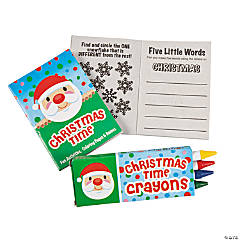 Mini Christmas Activity Books with Crayons