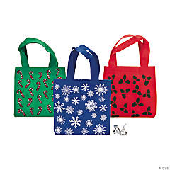 Mini Colorful Holiday Tote Bags