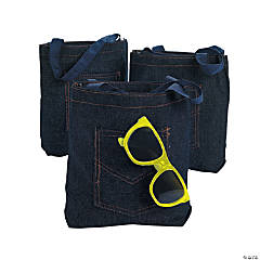 Mini Denim Jean Pocket Tote Bags