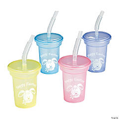 Mini Easter Cups with Lids & Straws