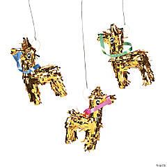 Mini Gold Fringe Donkey Piñata Decorations