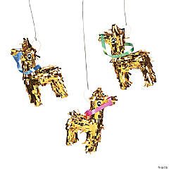 Mini Gold Fringe Donkey Piñata Decorations