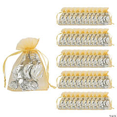 Mini Gold Organza Drawstring Treat Bags