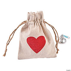 Mini Heart Canvas Drawstring Treat Bags