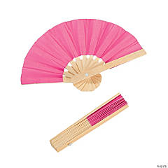Mini Hot Pink Bamboo Fans