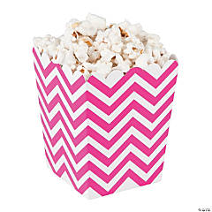 Mini Hot Pink Chevron Popcorn Boxes