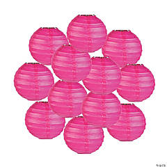 Mini Hot Pink Hanging Paper Lanterns