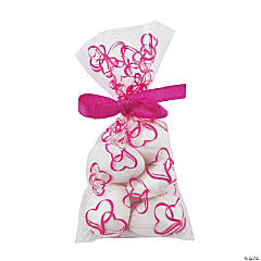 Mini Hot Pink Two Hearts Cellophane Bags