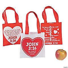 Mini John 3:16 Valentine's Day Tote Bags