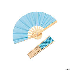 Mini Light Blue Bamboo Folding Hand Fans