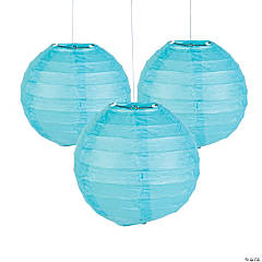 Mini Light Blue Paper Lanterns - 4 1/2