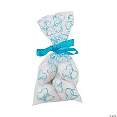 Mini Light Blue Two Hearts Cellophane Bags