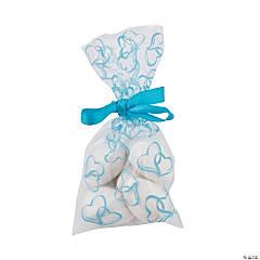 Mini Light Blue Two Hearts Cellophane Bags