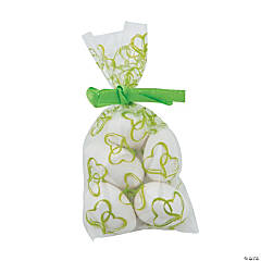 Mini Lime Green Two Hearts Cellophane Bags