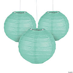 Mini Mint Green Hanging Paper Lanterns