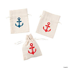 Mini Nautical Canvas Drawstring Treat Bags