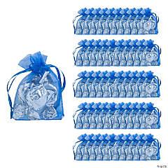 Mini Navy Blue Organza Drawstring Treat Bags