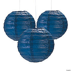 Mini Navy Hanging Paper Lanterns