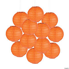 Mini Orange Hanging Paper Lanterns