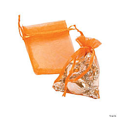 Mini Orange Organza Drawstring Bags