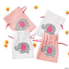 Mini Pink Elephant 1<sup>st</sup> Birthday Canvas Drawstring Treat Bags
