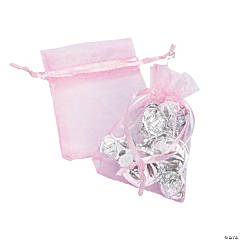 Mini Pink Pastel Organza Drawstring Treat Bags