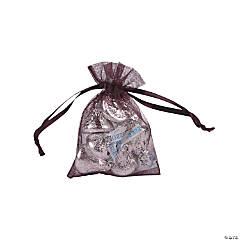 Mini Plum Organza Drawstring Bags