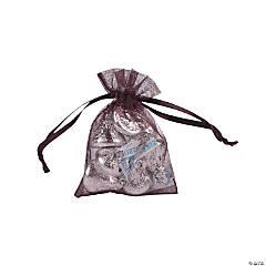 Mini Plum Organza Drawstring Treat Bags