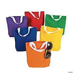 Mini Primary Color Canvas Tote Bags