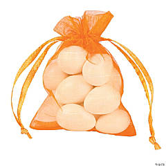 Mini Pumpkin Orange Organza Drawstring Bags