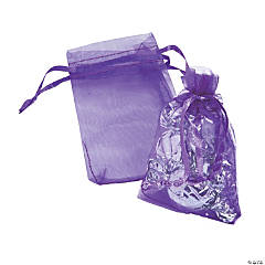 Mini Purple Organza Drawstring Treat Bags