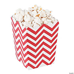 Mini Red Chevron Popcorn Boxes