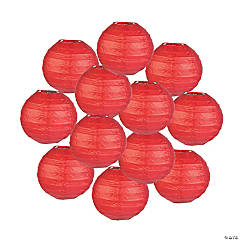 Mini Red Hanging Paper Lanterns