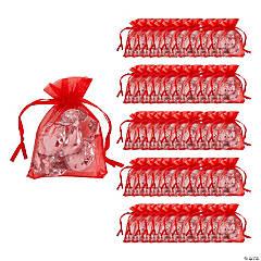 Mini Red Organza Drawstring Bags