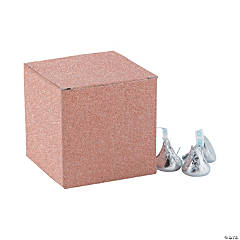 Mini Rose Gold Glitter Favor Boxes