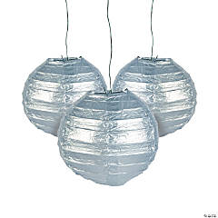 Mini Silver Hanging Paper Lanterns
