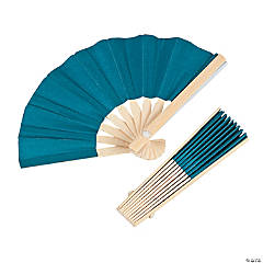 Mini Turquoise Bamboo Fans
