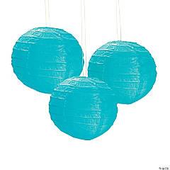 Mini Turquoise Hanging Paper Lanterns