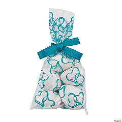 Mini Turquoise Two Hearts Cellophane Bags