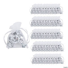 Mini White Organza Drawstring Treat Bags