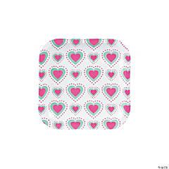 Mint & Pink Valentine Dessert Plates