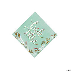 Mint Green Bride Tribe Beverage Napkins