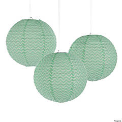 Mint Green Chevron Hanging Paper Lanterns