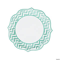 Mint Green Chevron Scalloped Edge Dinner Plates