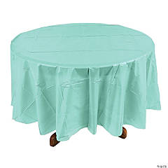 Mint Green Round Plastic Tablecloth