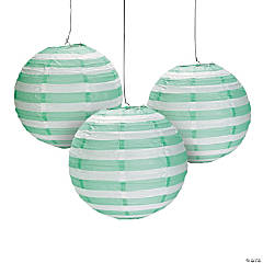 Mint Green Striped Paper Lanterns